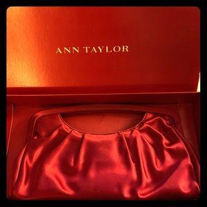 Red Satin Ann Taylor Clutch